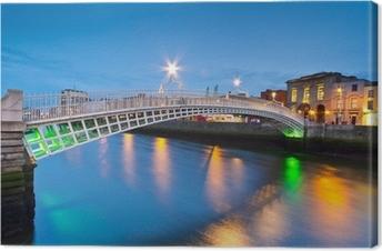 Canvas De ha'penny brug in Dublin in de nacht, Ierland