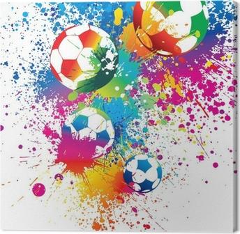 Canvas De kleurrijke voetballen op een witte achtergrond