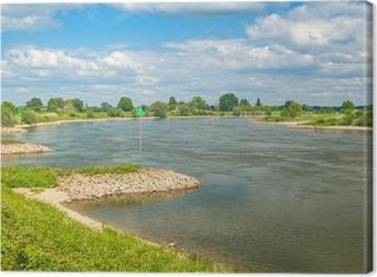 Canvas De oude Nederlandse rivier de IJssel tussen Zutphen en Deventer