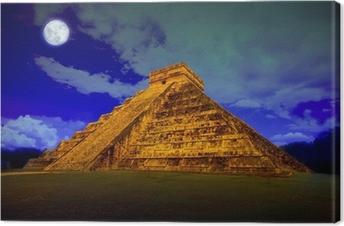 Canvas De piramide van Kukulcan in Chichen Itza bij volle maan