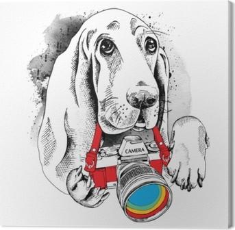 Canvas De poster met de afbeelding van de hond met de camera. vectorillustratie