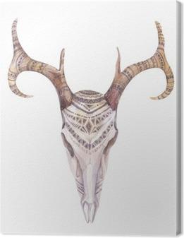 Canvas De schedel van de waterverf met bloemen, pijlen en veren. Boho Triba