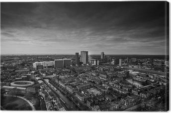 Canvas De skyline van Den Haag zwart en wit
