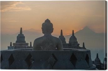 Canvas De tempel van Borobudur bij zonsopgang, Java, Indonesië