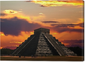 Canvas De tempels van Chichen Itza in Mexico