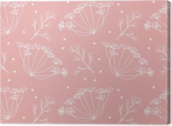 Canvas Dille of venkel bloemen en bladeren patroon.