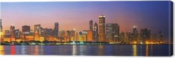 Canvas Downtown Chicago, IL bij zonsondergang