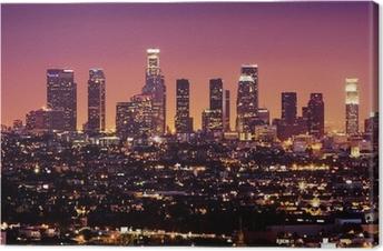 Canvas Downtown Los Angeles skyline in de nacht, california