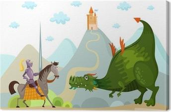 Canvas Draak en ridder