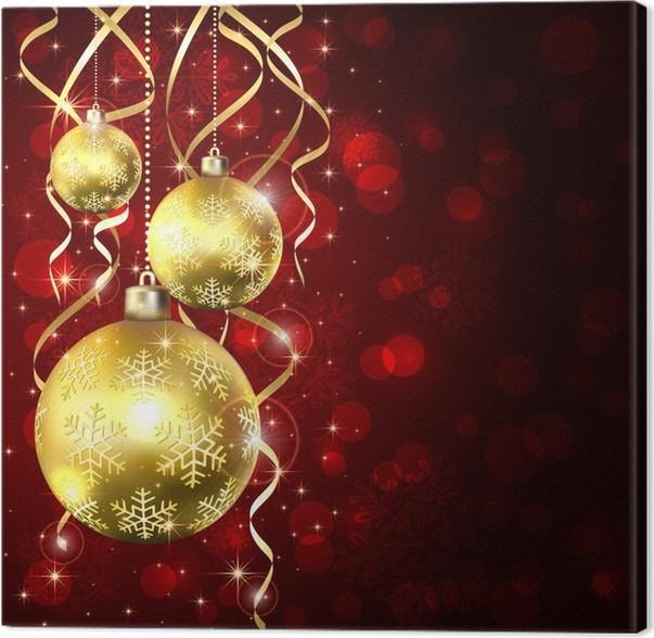 Canvas Drie Gouden Kerstballen Pixers We Leven Om Te Veranderen