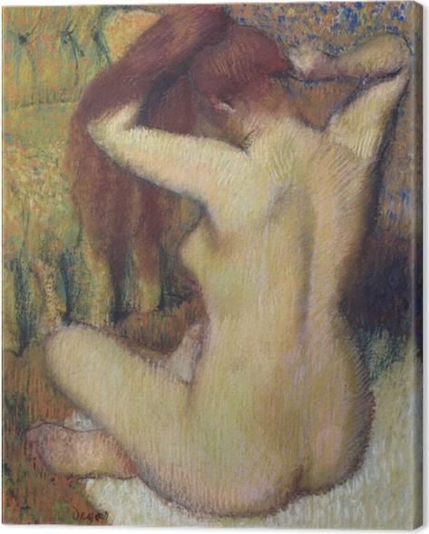 Canvas Edgar Degas - Een vrouw kamt zich - Reproducties