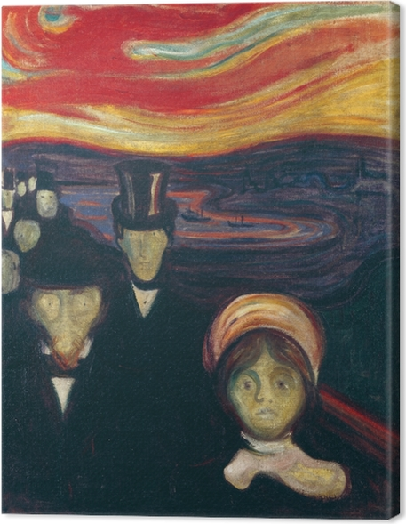 Canvas Edvard Munch - Angst - Reproducties