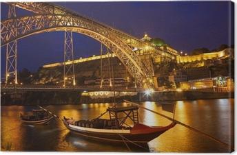 Canvas Een brug in Portugal in de nacht