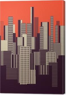 Canvas Een drie kleuren grafische abstracte stedelijke landschap poster in oranje en bruin