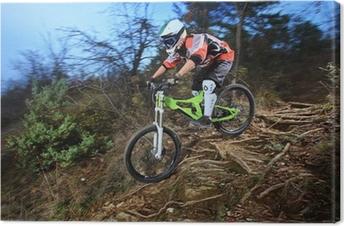 Canvas Een jonge man rijdt op een mountainbike downhill stijl