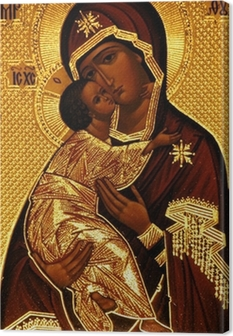 Canvas Een orthodoxe icoon van Maria, Vladimirskaya