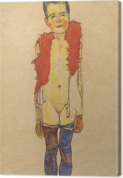 Canvas Egon Schiele - Een meisje met veren boa - Reproducties