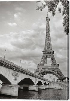 Canvas Eiffel toren van de rivier de Seine vierkant formaat