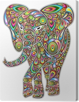 Canvas Elephant Psychedelic Pop Art Design op Witte