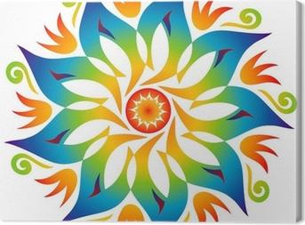 Canvas Energie Mandala kleuren van de regenboog