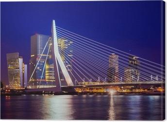 Canvas Erasmusbrug Tijdens Blue Hour, Rotterdam, Nederland