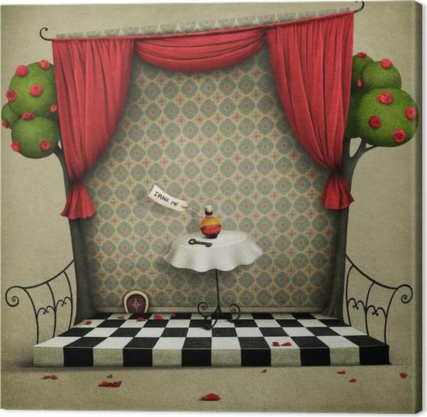 Canvas Fabulous achtergrond met rozen, gordijnen en een tafel ...