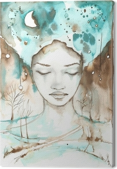 Canvas Fantastische illustratie van een abstract portret van een meisje.