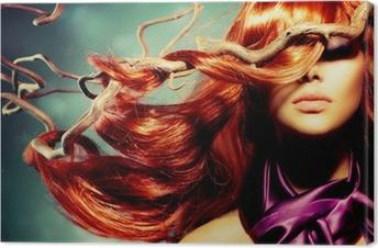 Canvas Fashion Model Portret van de Vrouw met lang krullend rood haar