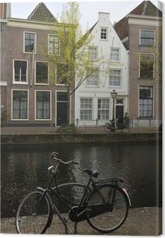 Canvas Fiets in de buurt van het kanaal, Leiden