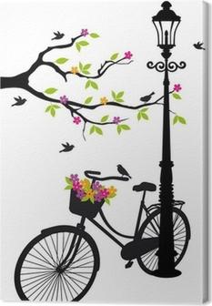 Canvas Fiets met lamp, bloemen en boom, vector