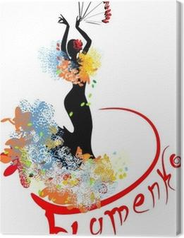 Canvas Flamenco danser met fan