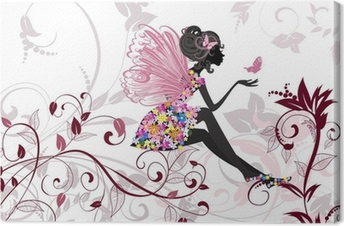 Canvas Flower Fairy met vlinders