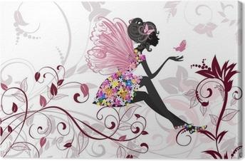 Canvas Flower Fairy met vlinders