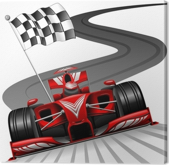 Canvas Formule 1 Rode Auto op Race Track