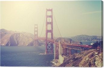 Canvas Foto met vintage-tint van de Golden Gate Bridge