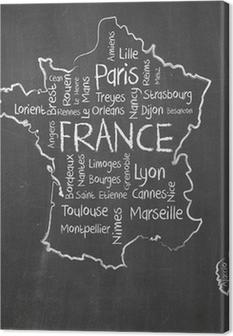Canvas Frankrijk kaart en woorden wolk met grotere steden
