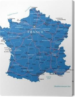 Canvas Frankrijk kaart