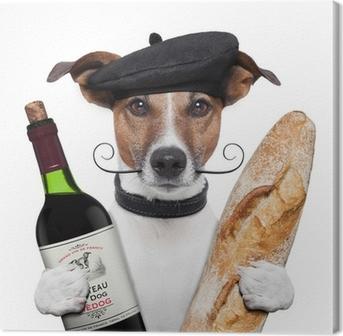 Canvas Franse hond wijn stokbrood baret