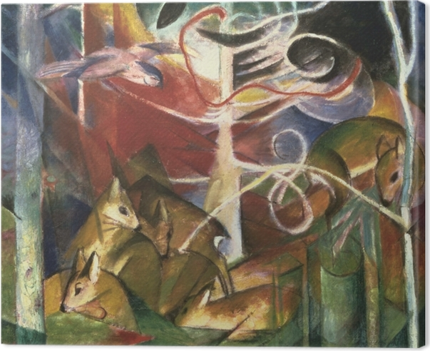 Canvas Franz Marc - Jelen v lese I - Reproductions