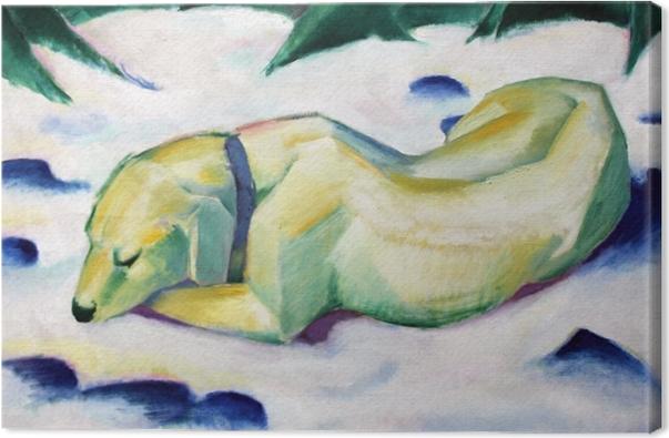 Canvas Franz Marc - Pes ležící ve sněhu - Reproductions