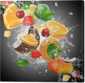 Canvas Fruit met opspattend water