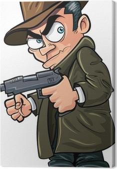 Canvas Gangster cartoon met een pistool en hoed