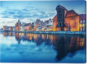 Canvas Gdansk, Polen oude stad, Motlawa rivier. Beroemde Zuraw kraan