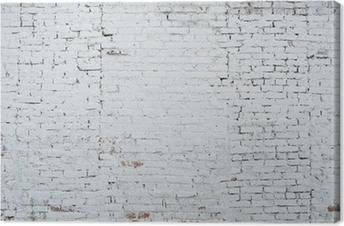 Canvas Gebarsten witte grunge bakstenen muur geweven achtergrond gekleurd oud