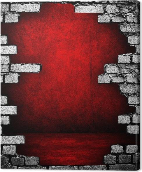 Canvas Gebroken bakstenen muur met rood interieur • Pixers® - We ...