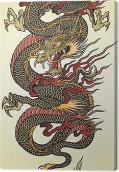 Canvas Gedetailleerde Aziatische Dragon Tattoo Illustratie