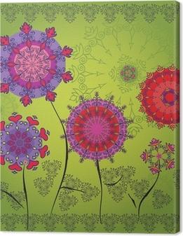 Canvas Gekleurde mandala bloemen op een groene achtergrond