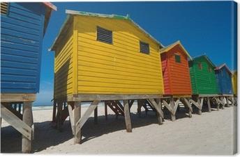 Canvas Gekleurde strandhuisjes in de buurt van Kaapstad - lage hoek