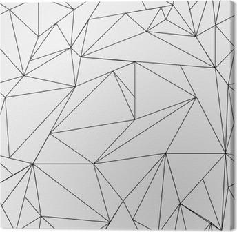 Canvas Geometrische eenvoudige zwart-wit minimalistische patroon, driehoeken of glas-in-lood raam. Kan worden gebruikt als achtergrond, achtergrond of textuur.