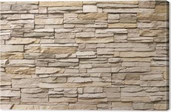 Canvas Gestapelde stenen muur achtergrond horizontale